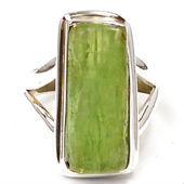 Verde cianita áspera, plata regalo del aniversario anillos, anillo de plata 925, emerald esterlina piedra