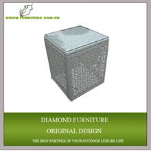 square aluminum plexiglass side table
