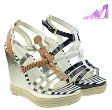 2015 black gladiator wedge heel platform women sandals