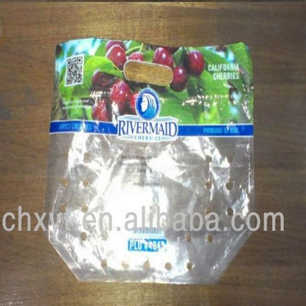 Slide zipper fresh vegetables plastic bags with vents/fresh vegetables packaging plastic bag/plastic fruit & vegetable bags