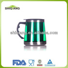 Food grade colorful 400ml double walled coffee mug and cup with plastic handle and screw lids