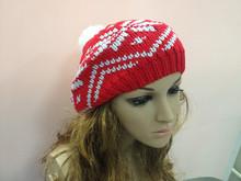 Hot Women Winter Warm Knit Wool Blend Hat Beanie Crochet Warm Pumpkin Ball Cap