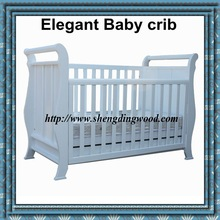 Elegant white baby playpen solid wooden baby crib