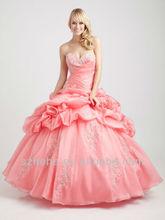 organza rosa cy624 appliques a pieghe abito da ballo piano lunghezza abiti quinceanera foto