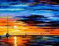 hermosa puesta de sol marino lienzo de pintura al óleo de los barcos