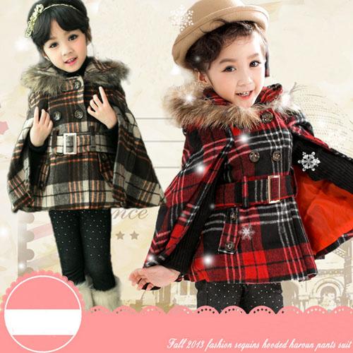 ta50178 2014 winter models girls Plaid cape coat jacket fashion hooded girls red coat with Belt