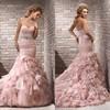 Wholesale handmade beaded sashes ruffle sweetheart court train organza high quality corset mermaid pink fashion wedding dresses