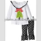 New Arrival Toddler Trendy childrens clothing wholesale kids clothes for sale baby christmas outfit with blackpolka ruffle pants