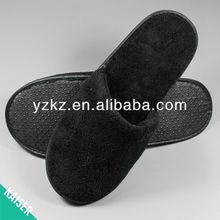 Black soft fleece indoor slippers for men
