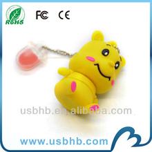 high-end cute pig shape usb flash drive with key chain
