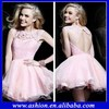 CD-606 Fancy sheer high neck open back light pink homecoming dresses babydoll homecoming dresses nordstrom