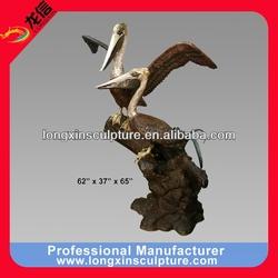 Pair of Bronze Pelicans on a Branch Sculpture Bronze Animal Sculpture