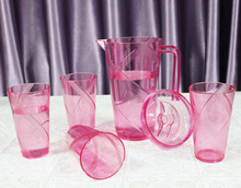 Cup Set Clear Plastic Acrylic Water Pitcher