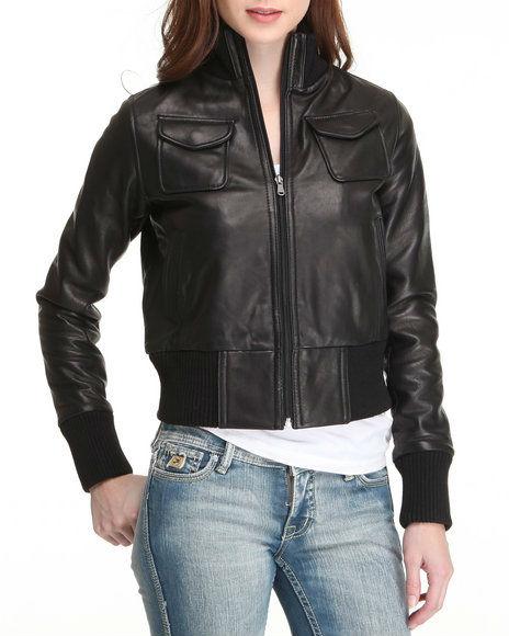 Women,s leather bomber jacket