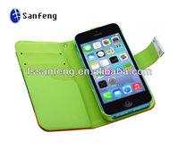 2013 New Design Wallet Case for iphone 5C Wallet Phone Case with Lanyard for iphone 5C Stand Wallet Case