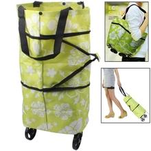 Portable Shopping Cart Tote Bag with Wheel Folding Single-shoulder Shopping Bag