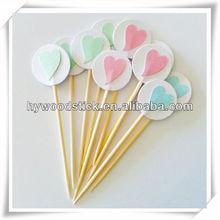 various sizes decorative disposable wooden party picks