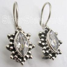 925 Sterling Silver CUBIC ZIRCON Low Weight Dangle Earrings 2.3CM