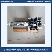 Russia solid oak wooden aluminum window design for homes