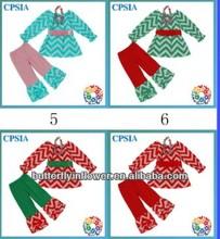 Hot Sale Toddles Girls Cotton Top and pant Set Aqua Chevron Long Sleeves Ruffle Leggings Set 1set= 1top+1pant+1sash + 1necklace