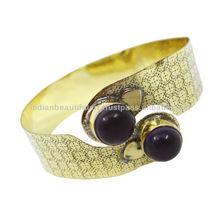 Gold Tone Purple Amethyst Stone Adjustable Metal Cuff Bracelet Women Jewelry