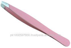 Eye Brow Tweezers,Plucking Tweezers, Tweezer Pink Stainless Steel Professional Slant