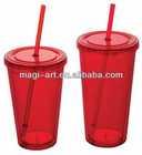 16OZ BPA free double wall acrylic tumbler with straw wholesale