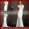 AL2506 2014 New Design Mature Lady V Neck Sheath Short Sleeve Modest Wedding Dress