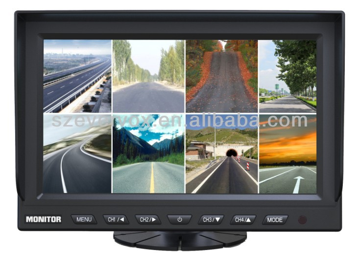 9 inch high resolution car eight images monitor 8 camera inputs special car monitor