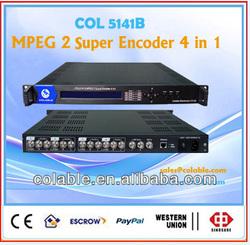 COL5141B super 4 channels MPEG2 Encoder SP/ASP/PAL/NTSC SD encoder,cable tv digital encoder for south american