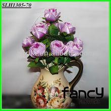 home&wedding decoration, 12 heads purple artificial silk flowers rose bush making