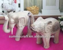 en bruto blankpainting afrian elefante tallado de madera de los animales
