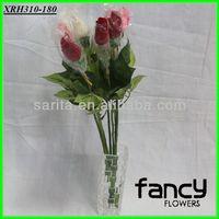 home&wedding decoration,quality snow cloth single rose flower making