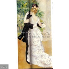 100% Hand made dance couple painting on canvas wall decor art, Pierre Auguste Renoir, Dance in the city