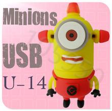 Hot sale U-14 Despicable Me 2 Minions 3D Cartoon USB cartoon characters bulk 256MB 4GB 8GB 16GB 32GB 64GB usb flash drives