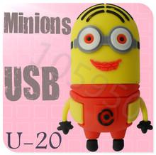 Hot sale U-20 Despicable Me 2 Minions 3D Cartoon USB cartoon characters bulk 256MB 4GB 8GB 16GB 32GB 64GB usb flash drives