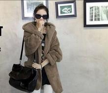 Han edition qiu dong cloak with hood plush thickening coat fur coat