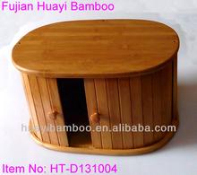 Oval Shape Bamboo Bread Bin with Latching Door