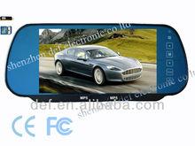 "car rearview mirror 7""TFT LCD monitor MP5 Player reverse parking sensors/radar&camera dual video input USB port/SD slot"