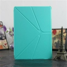 OEM 2014 New porduct Official Transformers design smart cover leather case for Ipad 5 in Green Color