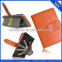 Handbag leather case for iPad mini 2,card pockets inside,elastic hand strap for holding.