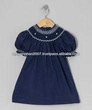 VietNam Cheap Navy Blue Pearl smocked bishop dress