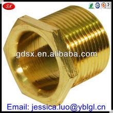 China Dongguan fabricate auto lathe part electrical bush,thread bushing,high precision hex head threaded conduit bushing