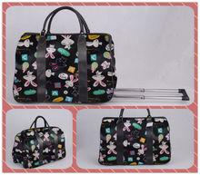 Little Rabbit Print Holdall Trolley Bag in Black Color
