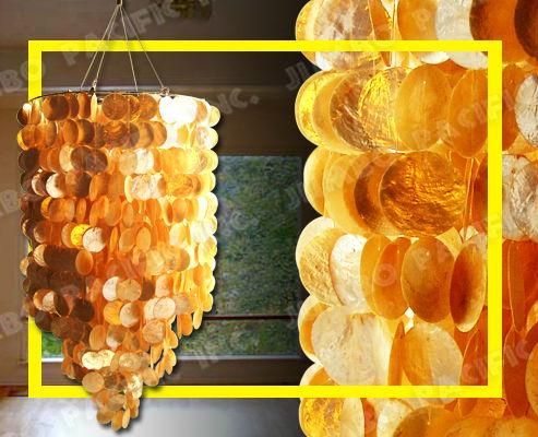 oro lampadario rotondo fatta di conchiglie capiz-Lampadari-Id prodotto ...