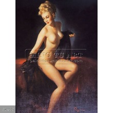 Handpainted nude female body painting pinup girls oil on canvas, Vision of Beauty (Unveilling)
