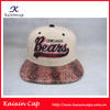 Custom flat brim/peak rasied 3D embroidery snapback cap/hat with snakeskin leather peak