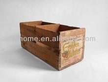 Distressed brown wooden book storage box