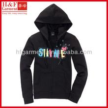 Girls plain black hoodies full zip up with silkscreen printing