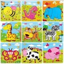 small animal puzzle wooden 9 piece cartoon jigsaw intelligence development - 12